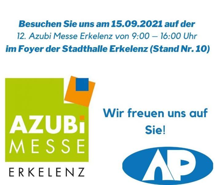 Besuchen Sie uns am 15.09.2021 auf der 12. Azubi Messe Erkelenz von 900 – 1600 Uhr im Foyer der Stadthalle Erkelenz (Stand Nr. 10)